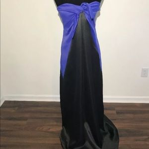 Halston Heritage Evening Gown Satin Bow Strapless